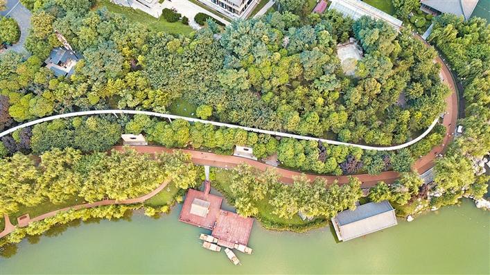航拍曲江池遗址公园
